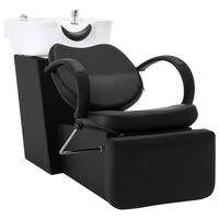 vidaXL Kadeřnické křeslo s mycím boxem černé a bílé umělá kůže