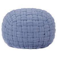 vidaXL Sedací puf pletený modrý 50 x 35 cm bavlna