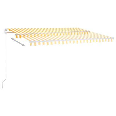vidaXL Ručně zatahovací markýza s LED světlem 400 x 300 cm žlutobílá, Žluto-bílá