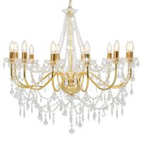 vidaXL Lustr s korálky zlatý 12 x žárovky E14