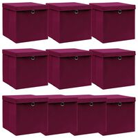 vidaXL Úložné boxy s víky 10 ks tmavě červené 32 x 32 x 32 cm textil