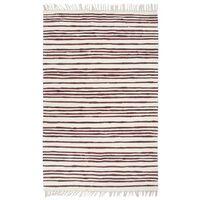 vidaXL Ručně tkaný koberec Chindi bavlna 160 x 230 cm vínovo-bílý