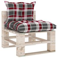 3066081 vidaXL Garden Pallet Middle Sofa with Cushions Pinewood (315823+314616)