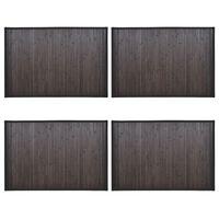 vidaXL Bambusové koupelnové předložky 4 ks 60 x 90 cm tmavě hnědé