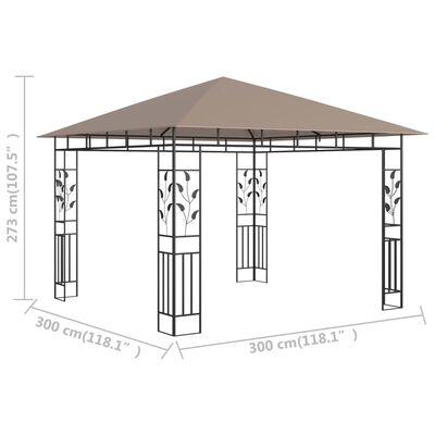 vidaXL Altán s moskytiérou 3 x 3 x 2,73 m taupe 180 g/m²