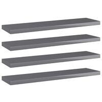 vidaXL Přídavné police 4 ks šedé vysoký lesk 40x10x1,5 cm dřevotříska