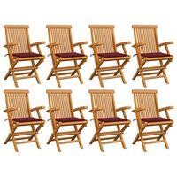 vidaXL Zahradní židle s vínovými poduškami 8 ks masivní teak