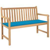 vidaXL Zahradní lavice s modrou poduškou 120 cm masivní teak