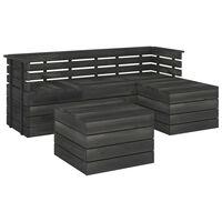 vidaXL 5dílná zahradní sedací souprava z palet borovice tmavě šedá