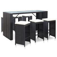 vidaXL 7dílný zahradní barový set s poduškami polyratan černý