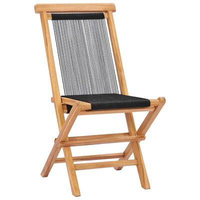 vidaXL Skládací zahradní židle 2 ks masivní teakové dřevo a provázky
