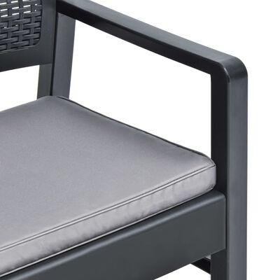 vidaXL 4dílná zahradní sedací souprava s poduškami plast antracitová