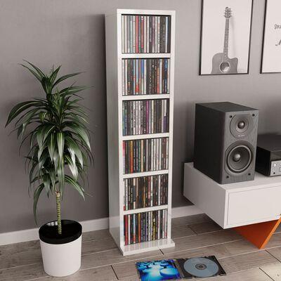 vidaXL Skříňka na CD bílá s vysokým leskem 21 x 20 x 88 cm dřevotříska