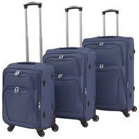 vidaXL 3dílná souprava měkkých kufrů na kolečkách, tmavě modrá