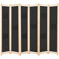 vidaXL 6dílný paraván černý 240 x 170 x 4 cm textil