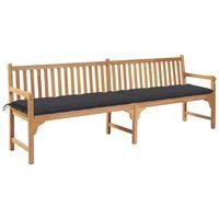 vidaXL Zahradní lavice s antracitovou poduškou 240 cm masivní teak