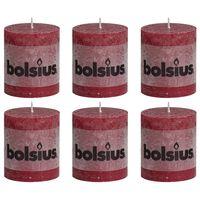 Bolsius Rustikální válcové svíčky 6 ks 80 x 68 mm vínové