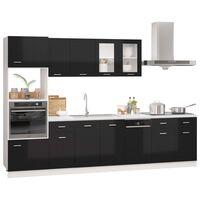 vidaXL 7dílný set kuchyňských skříněk černý vysoký lesk dřevotříska