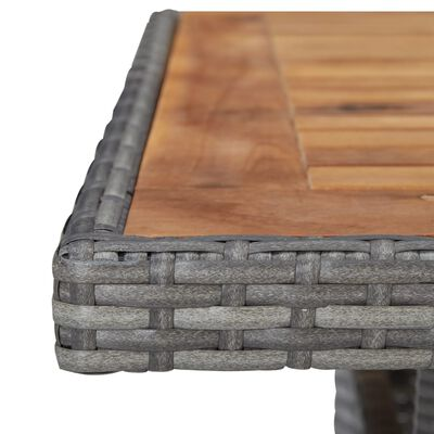 vidaXL Zahradní jídelní stůl šedý polyratan a masivní akáciové dřevo