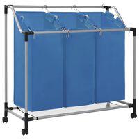 vidaXL Koš na třídění prádla se 3 vaky modrý ocel