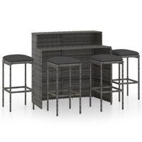vidaXL 5dílný zahradní barový set s poduškami šedý