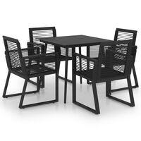 vidaXL 5dílný zahradní jídelní set PVC ratan černý