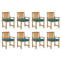 vidaXL Zahradní židle s poduškami 8 ks masivní akáciové dřevo