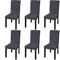 vidaXL Hladké strečové potahy na židle 6 ks antracitové