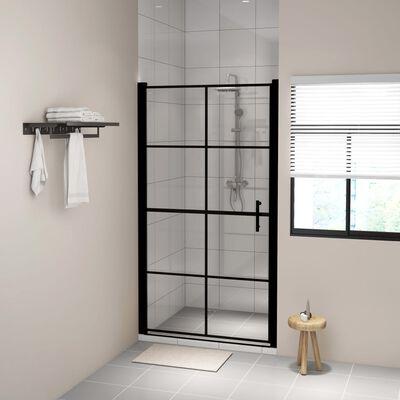 vidaXL Sprchové dveře tvrzené sklo 100 x 178 cm černé
