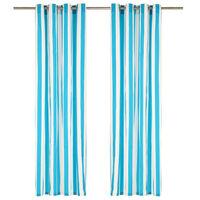 vidaXL Závěsy s kovovými kroužky 2 ks textil 140 x 225 cm modré pruhy