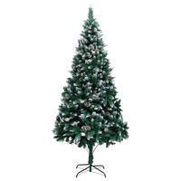 vidaXL Umělý vánoční stromek se šiškami a bílým sněhem 240 cm