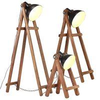 vidaXL Stojací lampy 3 ks černé E27 masivní mangovníkové dřevo