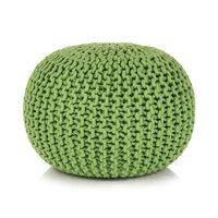 vidaXL Ručně pletený bavlněný taburet 50 x 35 cm zelený