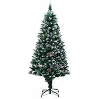 vidaXL Umělý vánoční stromek se šiškami a bílým sněhem 180 cm