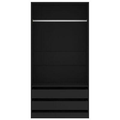 vidaXL Šatní skříň černá 100 x 50 x 200 cm dřevotříska
