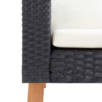 vidaXL 3dílná zahradní sedací souprava s poduškami polyratan černá