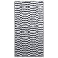 vidaXL Venkovní koberec bílý a černý 120 x 180 cm PP