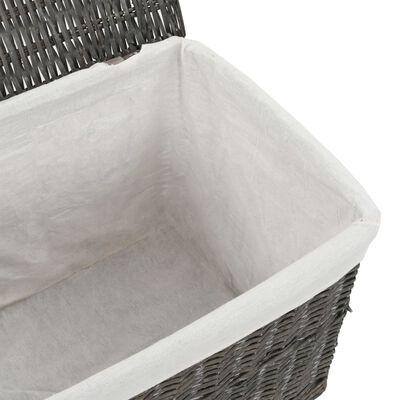 vidaXL Stohovatelná sada košíků šedá přírodní vrba