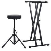 vidaXL Set dvojitého stojanu na klávesy a stolička černý