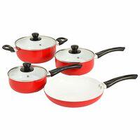 vidaXL 7dílná sada nádobí na vaření červená hliník