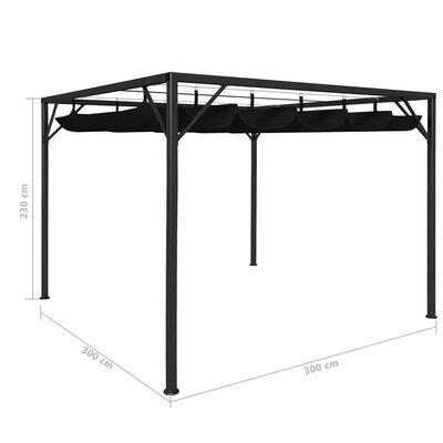 vidaXL Zahradní altán se zatahovací střechou 3 x 3 m antracitový