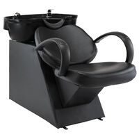 vidaXL Salon Shampoo Chair with Washbasin Black Faux Leather