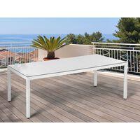 Zahradní Ratanový Stůl Bílý - 220 X 100 Cm Italy
