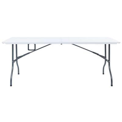 vidaXL Skládací zahradní stůl se 2 lavicemi 180 cm ocel a HDPE bílý
