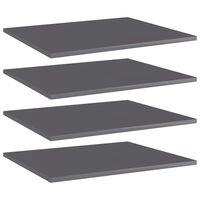 vidaXL Přídavné police 4 ks šedé vysoký lesk 60x50x1,5 cm dřevotříska