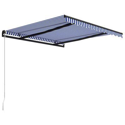 vidaXL Ručně zatahovací markýza 350 x 250 cm modrobílá