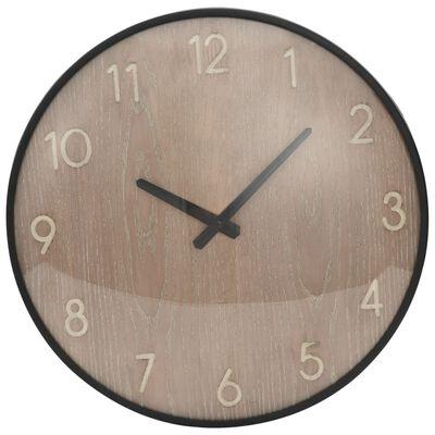 vidaXL Nástěnné hodiny hnědé 42 cm MDF a kov