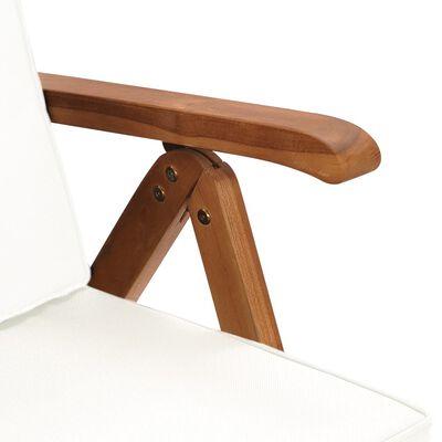 vidaXL Polohovací zahradní židle s poduškami 2 ks masivní teak krémové