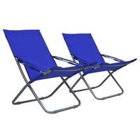 vidaXL Skládací plážové židle 2 ks textil modré