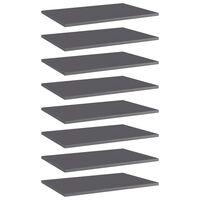 vidaXL Přídavné police 8 ks šedé vysoký lesk 60x40x1,5 cm dřevotříska